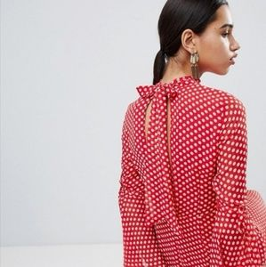 ASOS high neck polka dot asymmetric hem dress